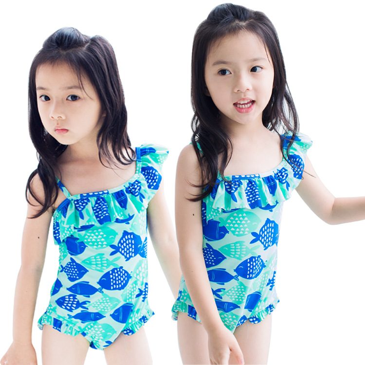 KID'S Swimwear Girls Hypotenuse One-piece Swimming Suit Infants Child Baby Camisole Blue Cartoon Fish One-piece Sun-resistant Ba