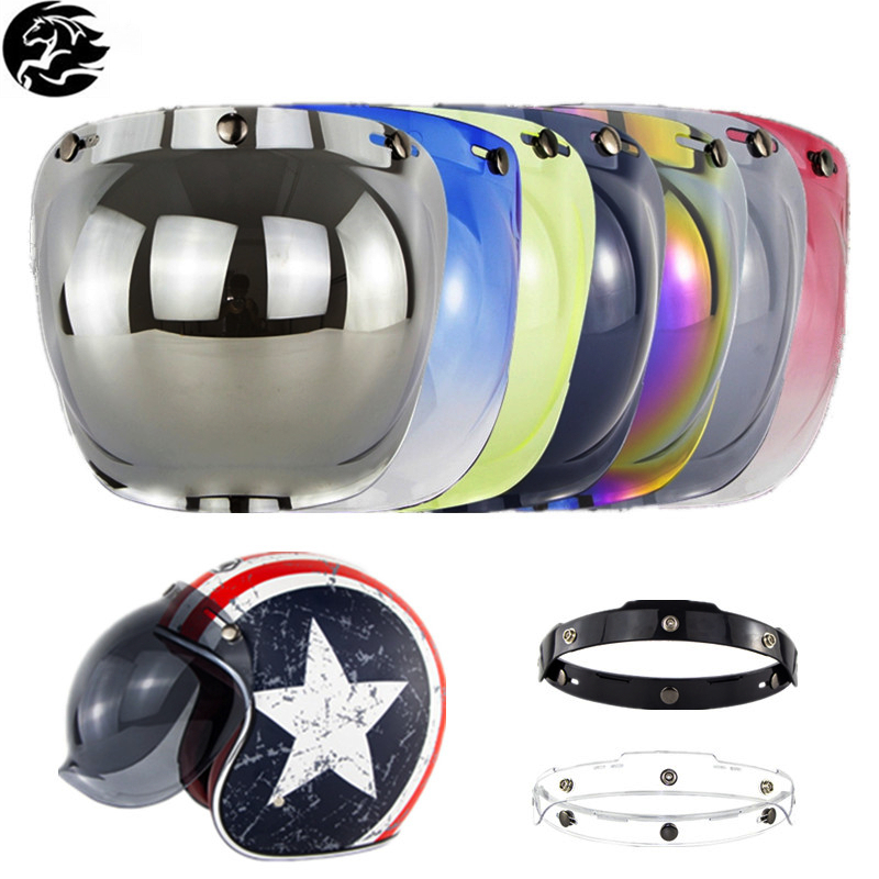 New Open Face Helmet Visor Motorcycle Helmet Windshield Bubble Visor Flip Up Lens Helmets Shield Motorcycle Helmet Accessories