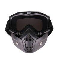 Ao ar livre óculos de proteção uv lente à prova vento capacete da motocicleta equitação ciclismo óculos com destacável máscara facial