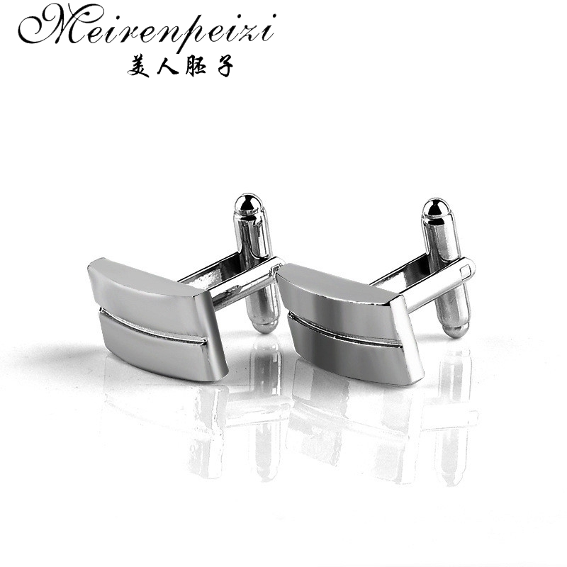 Classic Mens Luxury Silver Color Cuff Links Square CuffLinks Gift For Men Dad Husband Groom Cuff Links Wedding Cuff Button