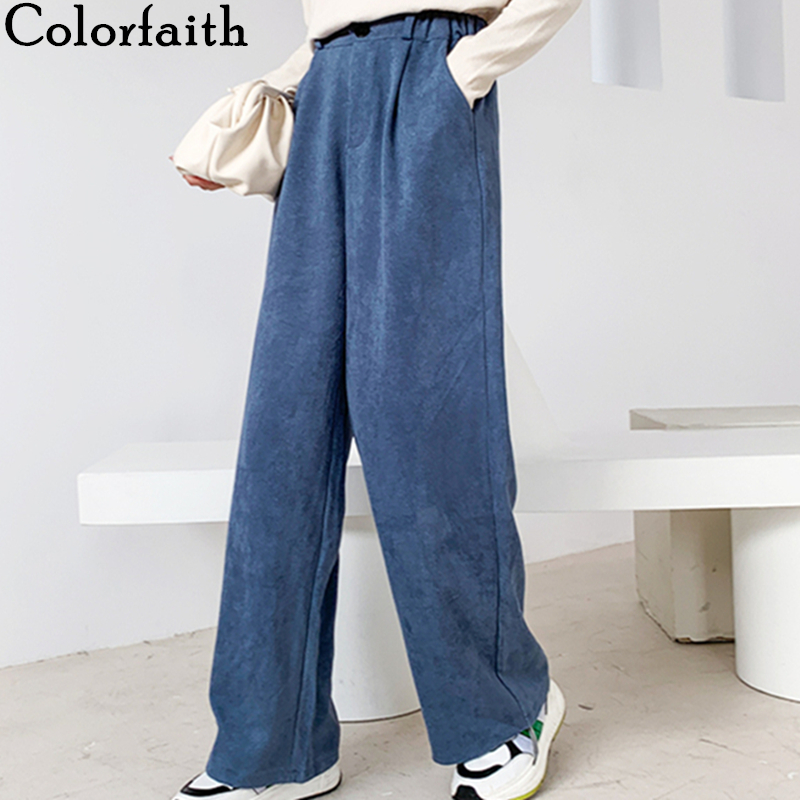 Colorfaith New 2020 Spring Autumn Women Wide Leg Pant Loose High Elastic Waist Pockets Straight Casual Ankle-Length Pants P6932