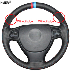 Protector de costura a mano para volante de coche, cuero de ante, F07 F10 para BMW (GT) 2013-2018 F11 (Touring) 2014-2019 F01 F02 2013-2019