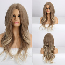 ALAN EATON Synthetic Wigs for Women Long Wavy Ombre Light Brown Blonde Middle Part Cosplay Wigs Fake Hair Heat Resistant Fiber
