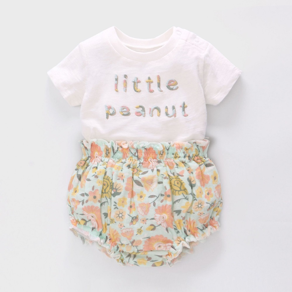 Vlinder Baby Girl Clothes Baby T Shirt Pants Summer Clothes 2pcs Set Pure Cotton Lovely Cartoons Clothing Sets 6M~24M  Baby Sets
