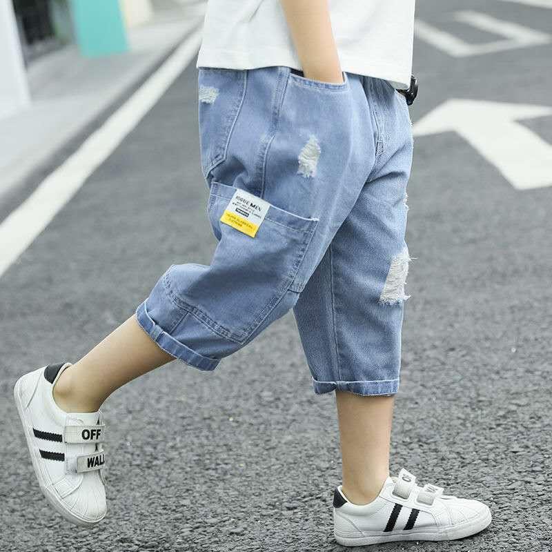 Boys Printed-Pattern Denim Shorts