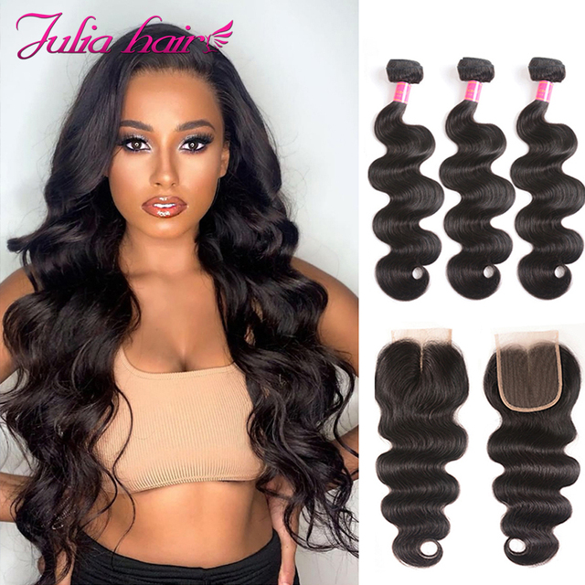 $ US $66.50 Ali Julia Hair 3 or 4 Bundles With Closure Brazilian Body Wave Human Hair Bundles With Closure 4*4 Swiss Lace  Remy Hair