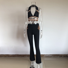 KGFIGU women sets 2019 summer tie up bandage tops and Women's Palazzo Flared Legs Pants High Waist OL Ladies Long Trousers