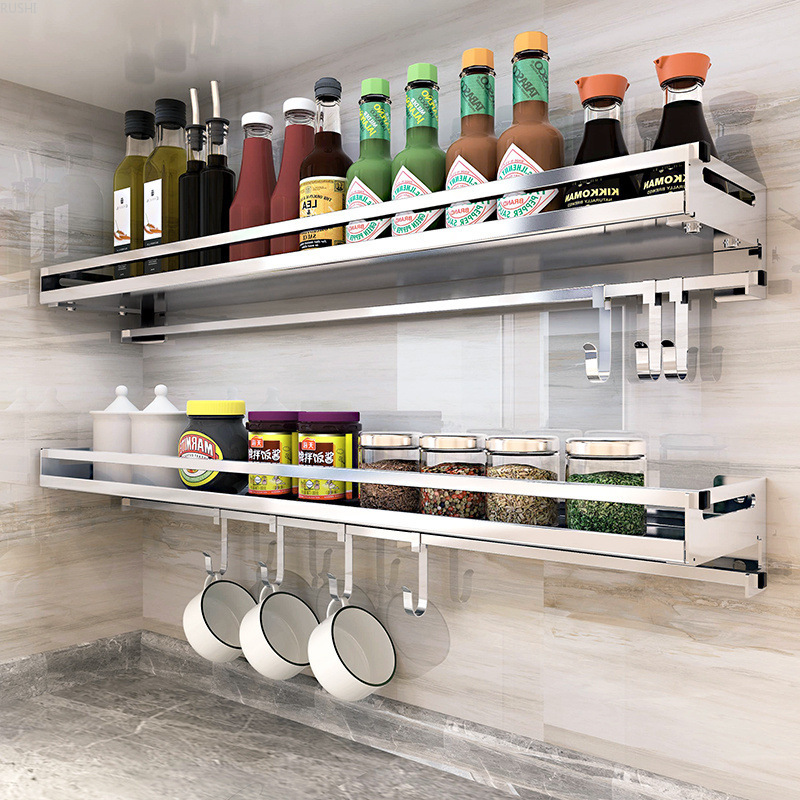 304 Stainless Steel Kitchen Shelf Wall Mounted Drill Free Condiment Rack Space Save Kitchen Wall Hanging Punch Free Shelf Racks Holders Aliexpress