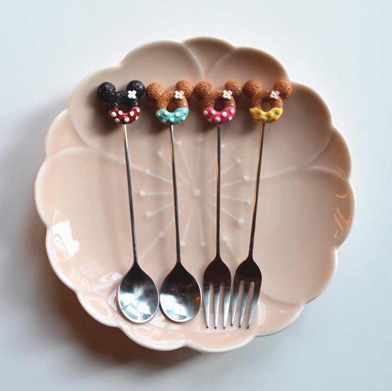 Süßigkeiten Kleine Mini 304 Edelstahl Donut Donuts Kaffee Löffel Obst Rühren Löffel Teelöffel Dessert Tee Löffel Geschirr