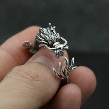 Bagues Dragon Vintage pour hommes et femmes, Style gothique, en argent plaqué, Punk Biker Dragon Ring moto fête Hip Hop bijoux