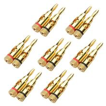 7 Pairs, Open Screw Banana Plugs for Speaker Cable(China)