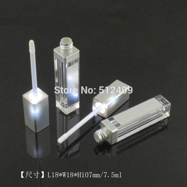 10/30/50pcs 7.5ml ריק איפור השפתיים DIY בקבוק שחור/כסף כיכר גלוס צינור עם LED אור מראה glair שפתני בקבוק