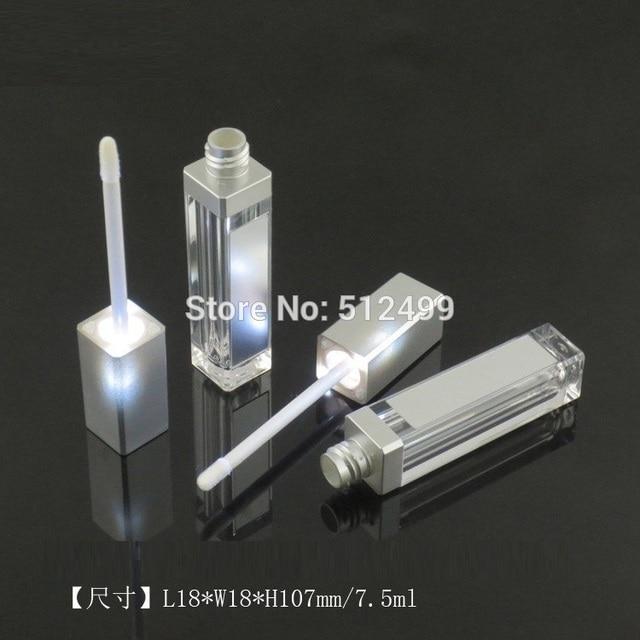 10/30/50pcs 7.5ml Empty Makeup DIY Lip gloss bottle Black/silver Square Lip Gloss Tube with LED Light mirror Labial glair bottle
