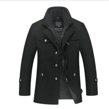 New men's winter padded wool jackets coats removable quilted lining button wool blends pea coat thick padded jacket coat men фото