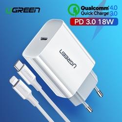 Ugreen Быстрая зарядка 4,0 3,0 QC PD зарядное устройство 18 Вт QC4.0 QC3.0 usb type C быстрое зарядное устройство для iPhone X Xs Xr 8 Xiaomi телефон PD зарядное устройств...