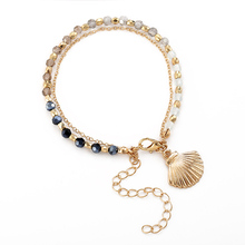 trendy colorful acrylic beaded bracelets & bangles for women new adjustable golden shell female party jewelry