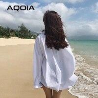 AQOIA Streetwear Long Sleeve Chiffon Plus Size Black White Women Shirt Button Up Loose Ladies Blouses 2020 Female Long Shirts 2
