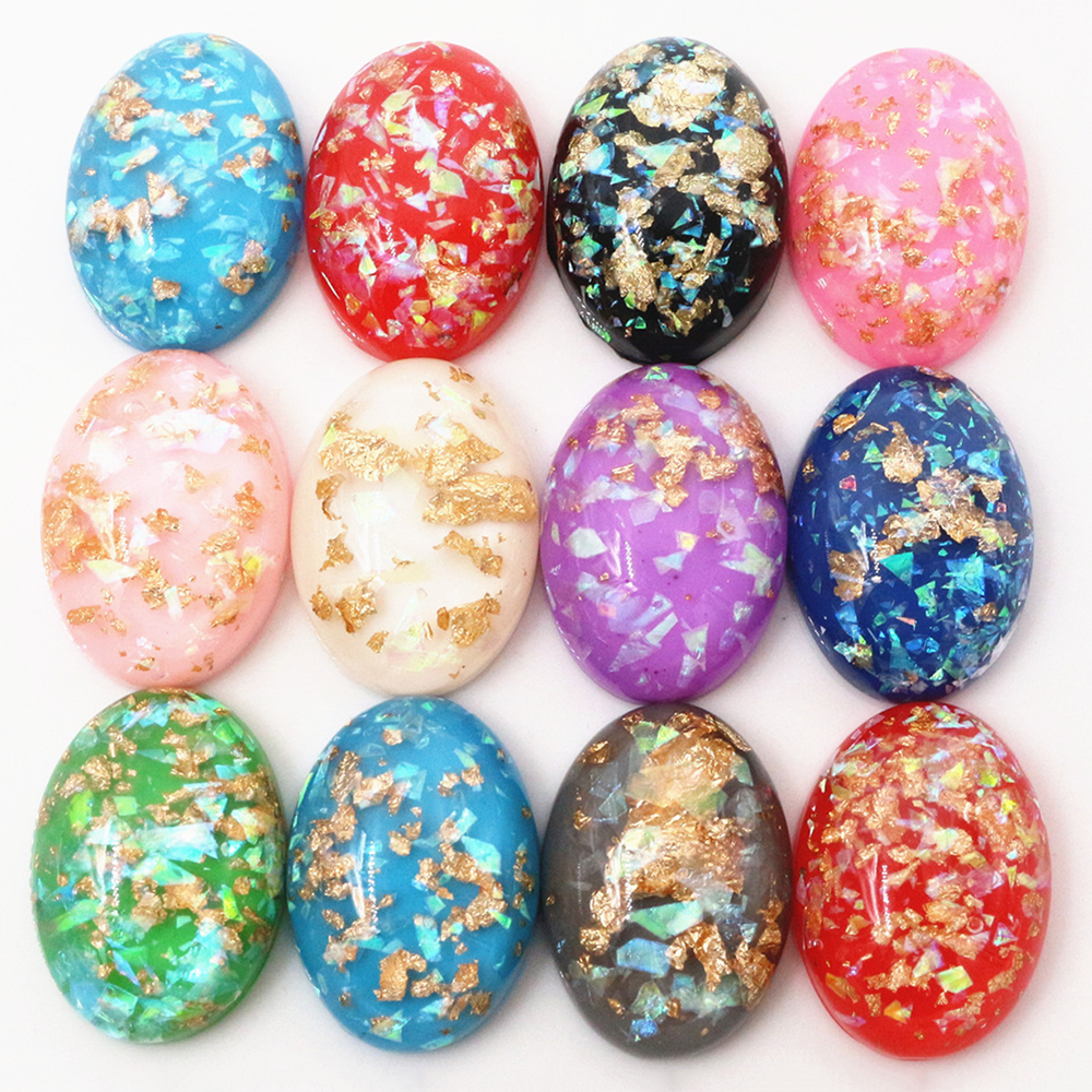 18x25mm 10pcs/Lot New Fashion Mix Color Built-in Metal Foil Flat Back Resin Cabochons Cameo