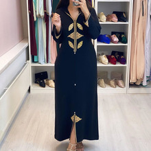 Dubai hijab Print Elegant Women Dress Vintage Long Sleeve Muslim Abaya Robe Islam turkey Long Dress Autumn 2020 Femme Vestiods