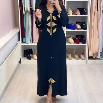 Dubai hijab Print Elegant Women Dress Vintage Long Sleeve Muslim Abaya Robe Islam turkey Long Dress Autumn 2020 Femme Vestiods pearl beading bell sleeve hijab long dress