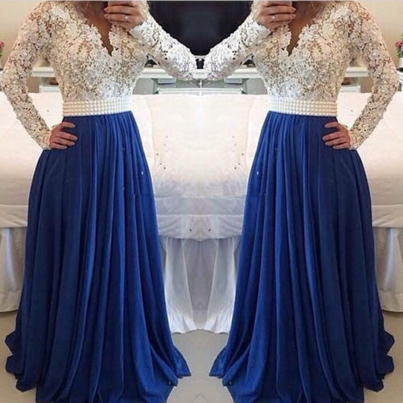 White Lace Blue Chiffon Evening Prom Gown 2018 Long Sleeve Vestido De Festa Sexy Formal Pearls Mother Of The Bride Dresses