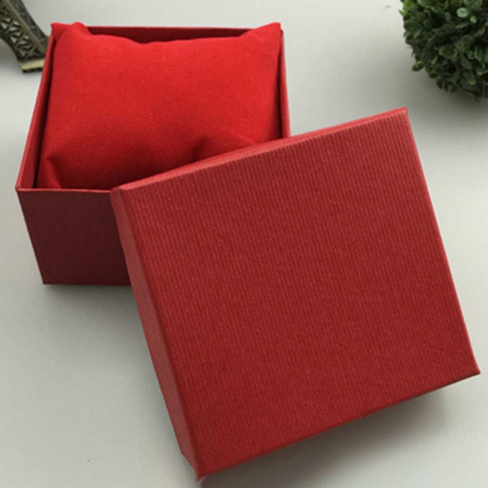 بلون صندوق مقوى مربع ساعة مجوهرات الإسورة سوار حقيبة للتخزين علبة هدية التعبئة والتغليف
