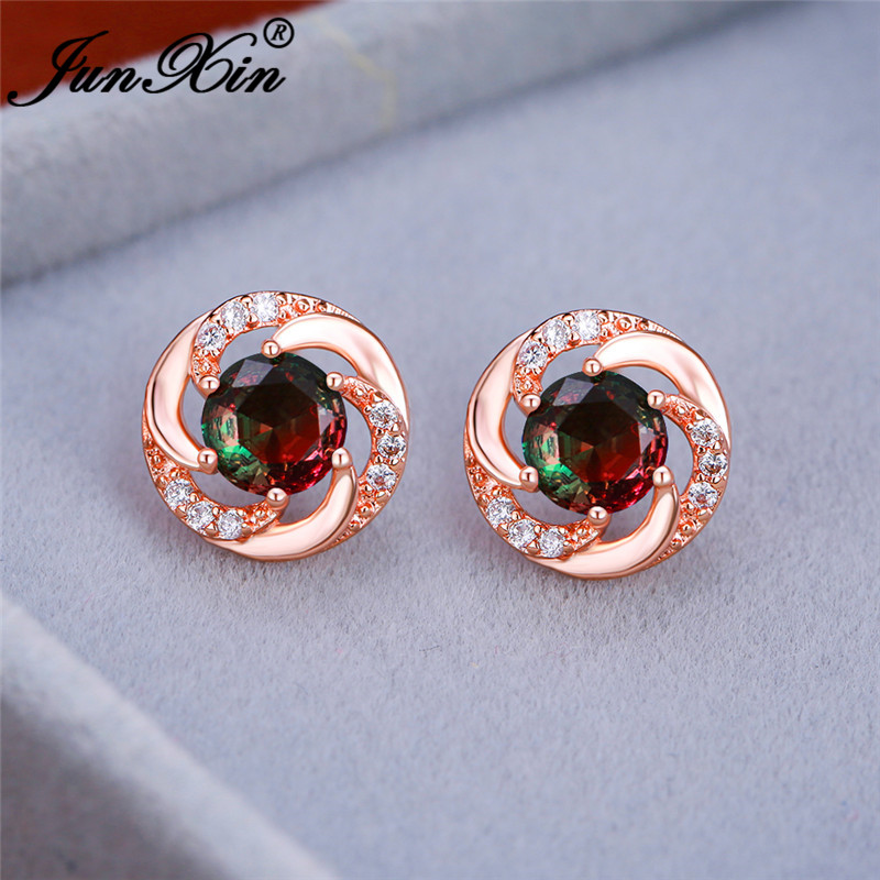 Female Gradient Red Green Stone Round Earrings White Gold Rose Gold Rainbow Fire Zircon Wedding Stud Earrings For Women Jewelry