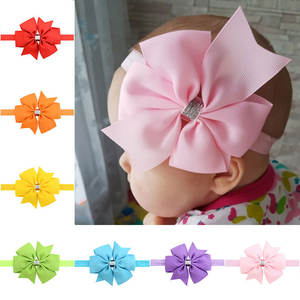 Bow Headband Hair-Accessories Flower Elastic Kids Big Solid Baby Lovely