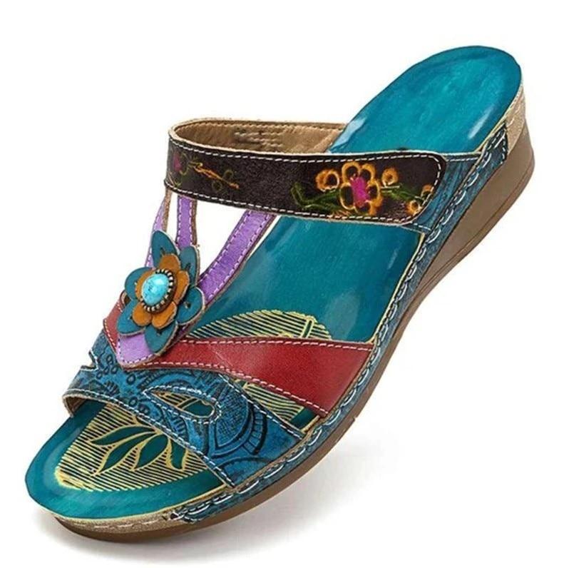 Women Sandals Heeled Slippers Ethnic Flower Sandals Female Summer Shoes Casual Beach Shoes Flip Flop Chaussures Femme Platform99