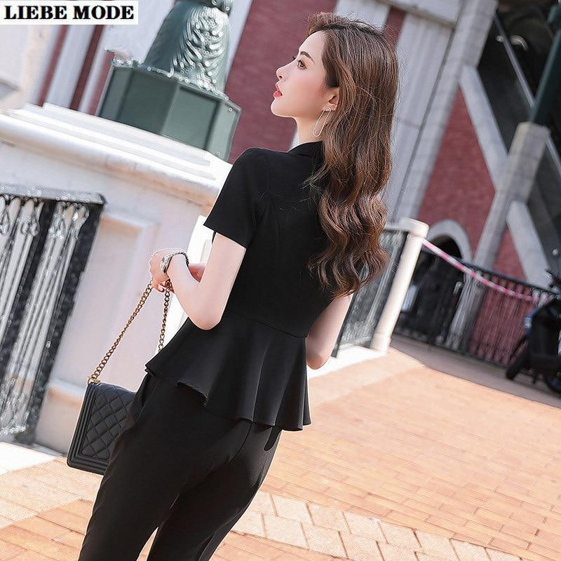 Office Uniform Designs Black White Formal Pant Suit for Women Short Sleeve Ruffle Blazer and Pant or Skirt Plus Size Pantsuit