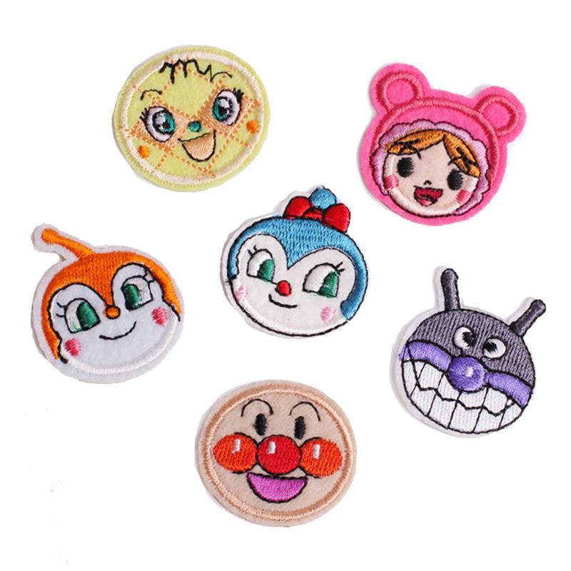 6Pcs/12pcs Set DIY Child Patches Smiley Face Embroidery On Patches Iron On Patch For Bags T-Shirt Clothes Stickers Applique