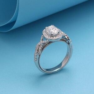 Image 2 - Transgems 14 k 585 branco ouro centro 2ct 7*9mm forma oval f incolor anel de noivado para a faixa feminina com milgrain