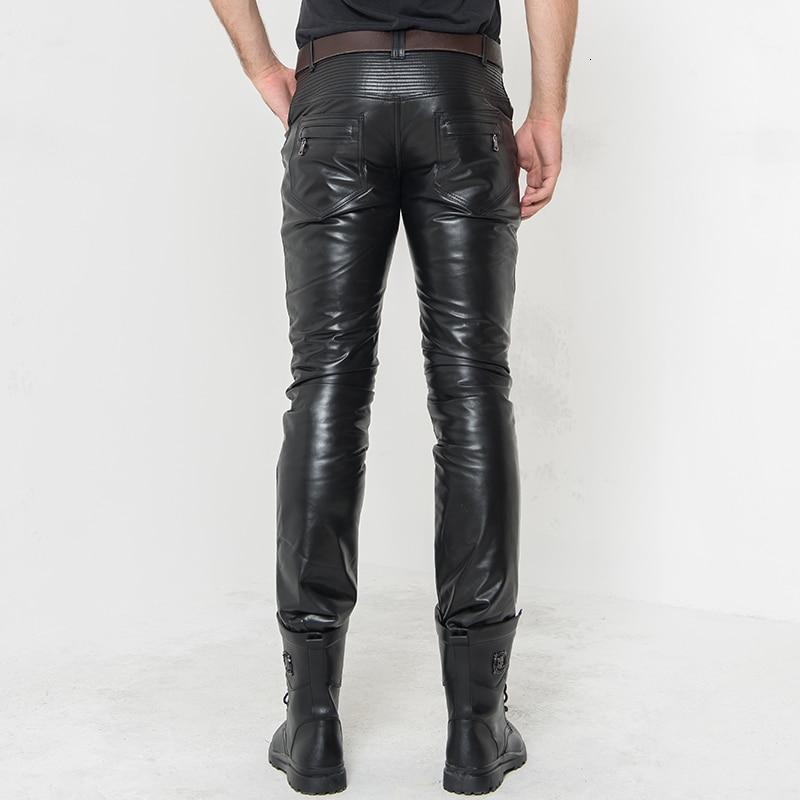 Winter Mens Fleece Lining Trousers Straight Mid Waist Heavyweight Zipper Real Leather Full Length Pencil Pants Casual Biker Man