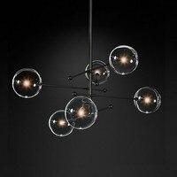 Nowoczesny design szklany żyrandol w kształcie kuli 6 głowice jasne szkło lampa w kształcie bańki żyrandol do salonu kuchnia czarny/złoty oprawa oświetleniowa w Wiszące lampki od Lampy i oświetlenie na