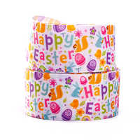 10yards different sizes Happy Easter day pattern printed grosgrain ribbon