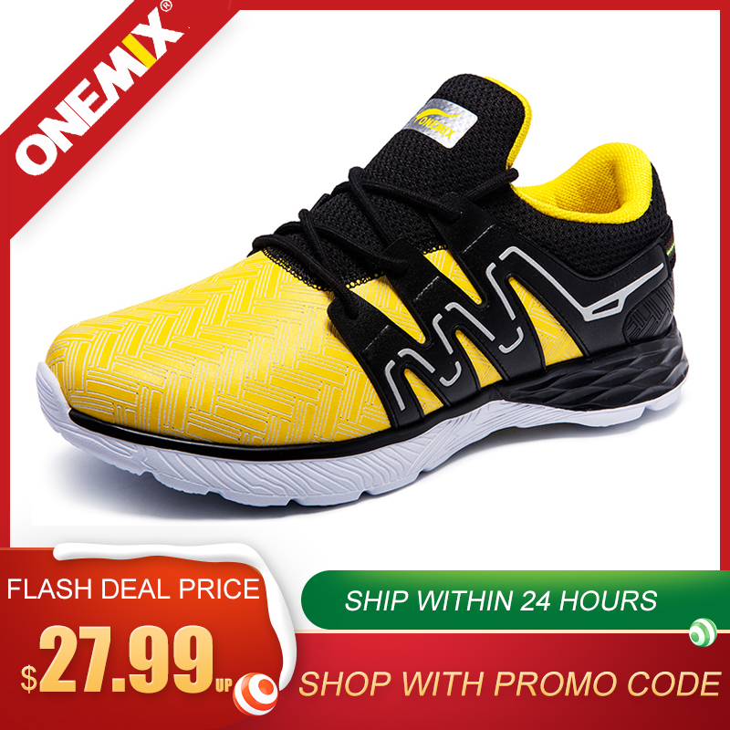 ONEMIX Men's Running Shoes Spring Summer Black Athletic Shoes Walking Sneakers Men Leather Jogging Man White Casual Sport Shoes