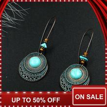 Pendientes pendientes colgantes para las mujeres étnicas bronce Pendientes de gota geométricos Vintage joyería de moda de aleación de cobre pendientes de fiesta para regalo