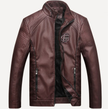 Mens New Casual Leather Collar PU Jacket Faux Fur Coats Pu Jackets Winter Motorcycle