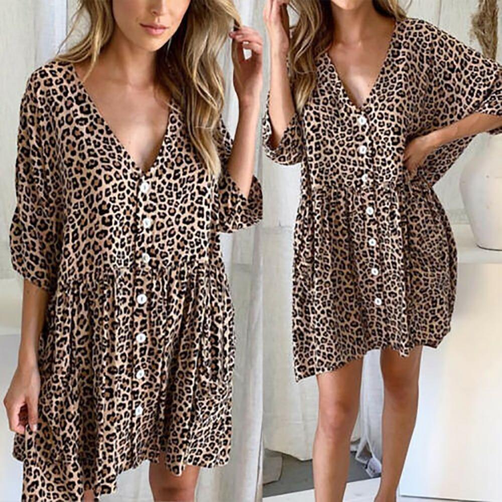 Women Short Sleeve Mini Dresses Leopard Print Buttons V-neck Flounce Trim Dress Plus Size Ladies Summer Loose