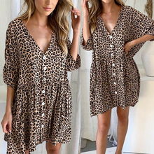 Women Short Sleeve Mini Dresses Leopard Print Buttons V-neck Flounce Trim Dress Plus Size Print Ladies Summer Loose Dresses tiered flounce trim tee