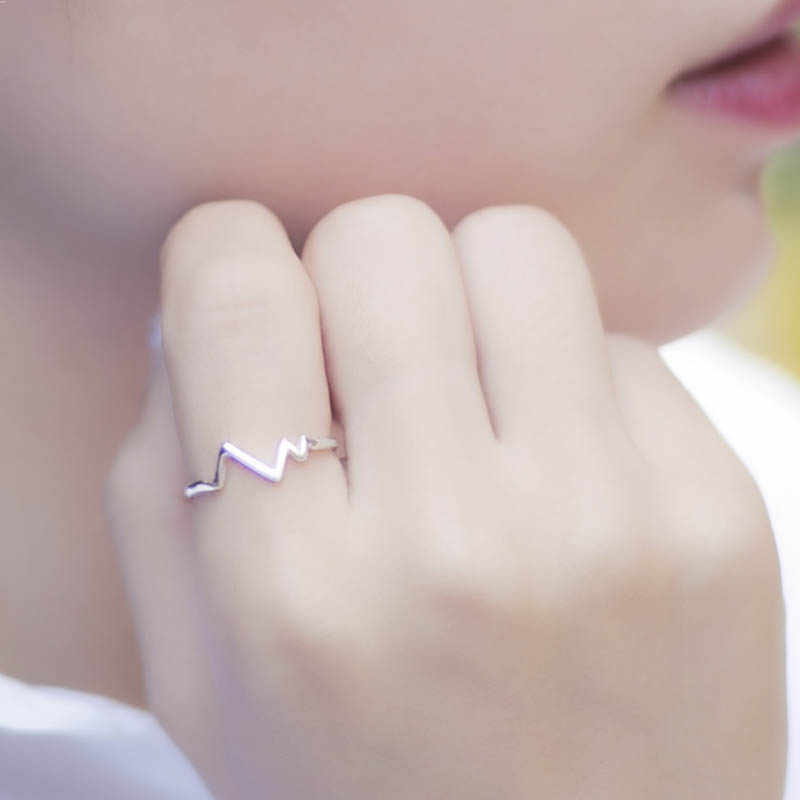 Cellacity plata de moda 925 anillo de joyería para mujeres líneas en forma de onda Simple apertura ajustable accesorio femenino regalo de Citas
