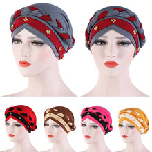 Muslim Women Headscarf Turban Hat Braid Beads Chemo Cap Indian Ladies Beanie Bonnet Head Wrap Cover Hair Loss Cover Hat Headwear(China)