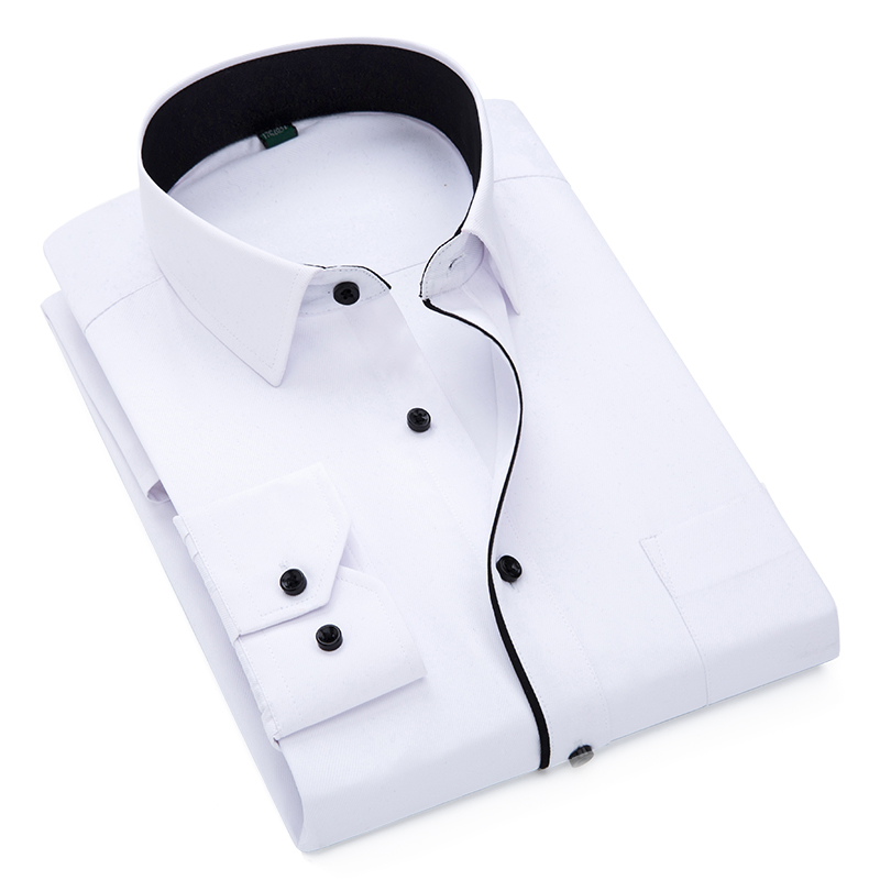 Autumn New Men Shirt Smart Casual Long Sleeved Button Down Male Twill Shirts Formal Business White Blouse 4XL 5XL 7