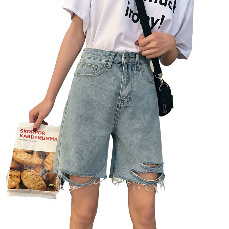 Vintage Bermuda Shorts Plus Sizze Jean Short Women Retro All-Match Ripped Denim Short Female Chic Trouser Ladies 2020 New Cloth