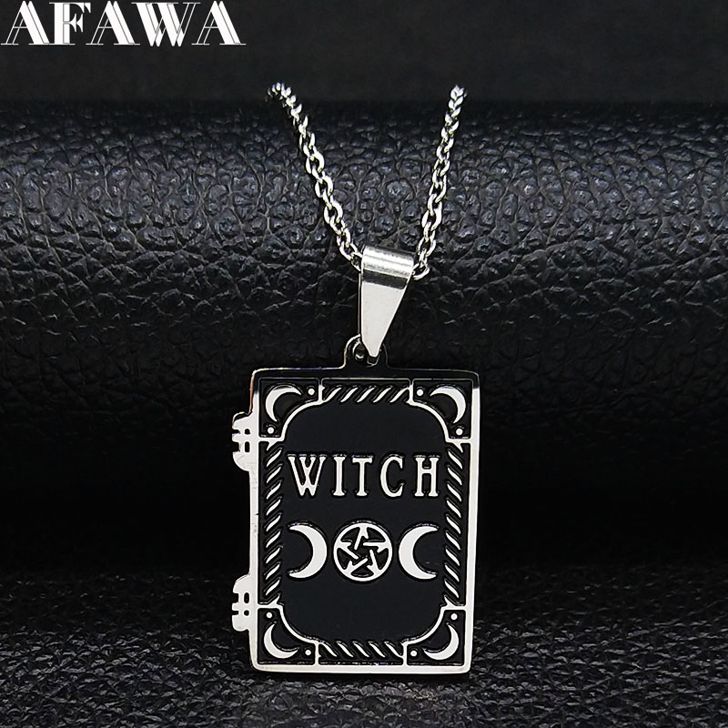 2019 Fashion Moon Sun Pentagram Stainless Steel WITCH Necklace for Women/Men Witchcraft Book Necklace Jewelry joyas N19862(China)