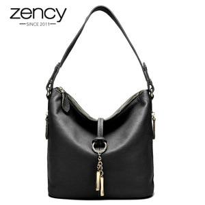 Image 1 - Zency New Fashion Women Shoulder Bag Metal Tassel 100% Genuine Leather Lady Crossbody Messenger Elegant Gift Handbag Black White