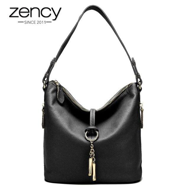 Zency New Fashion Women Shoulder Bag Metal Tassel 100% Genuine Leather Lady Crossbody Messenger Elegant Gift Handbag Black White