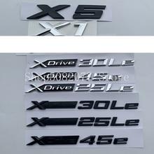 XDrive 25Le 30Le 45e ตัวอักษรสัญลักษณ์ด้านข้าง Fender ด้านหลังป้ายสติกเกอร์รถสำหรับ BMW X1 X5ใหม่ Energy matte Glossy Black