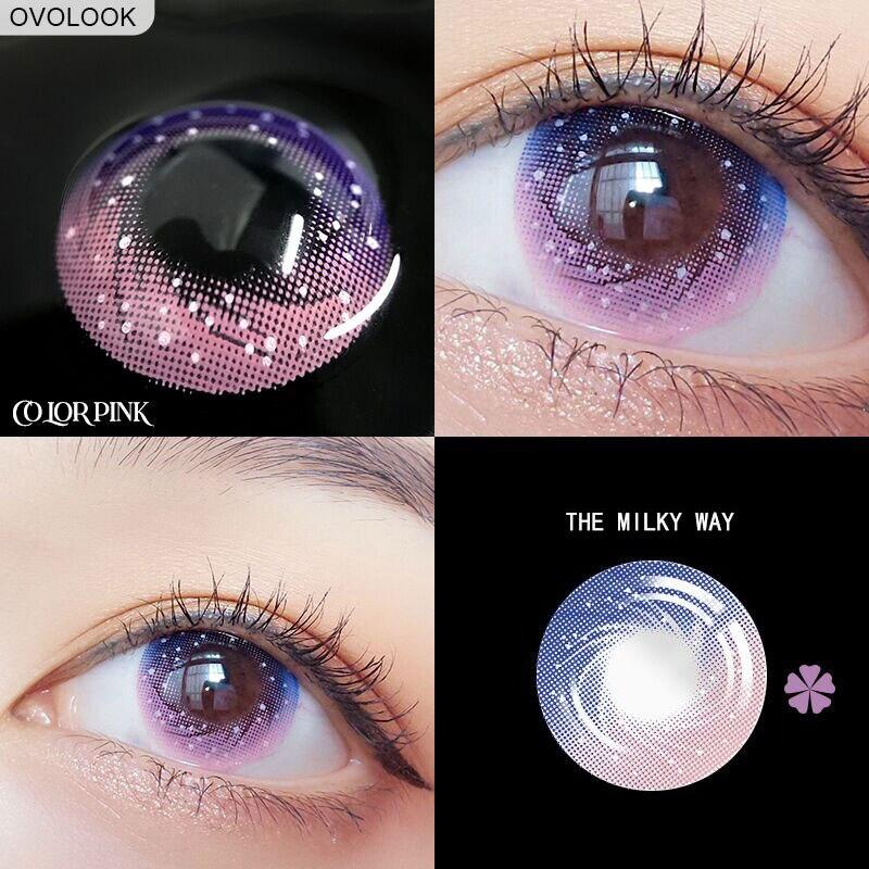 OVOLOOK-1 paire de lentilles lentilles colorées pour les yeux lentilles de Contact pour les yeux voie lactée lentille de couleur des yeux Contacts colorés pour les yeux
