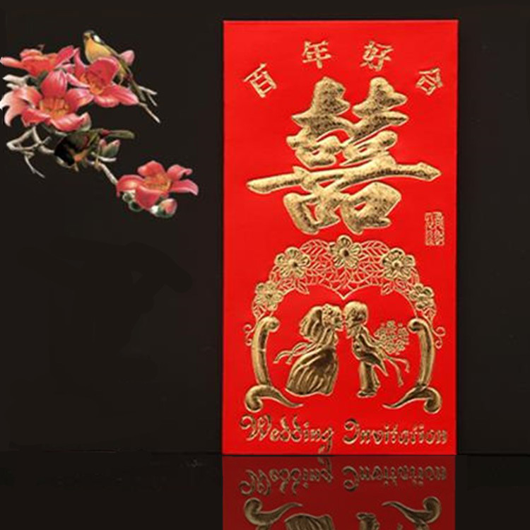 Marriage Wedding Red Envelop Containing 10,000 Yuan Wedding Fu He Fiscal Word Good Luck Red Packet Extra Large Changed Wage Red